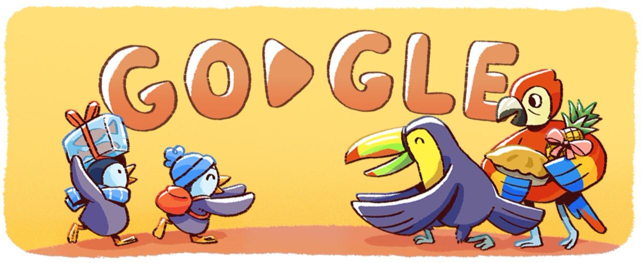 Googleロゴ「December global festivities」に(2017年ホリデーシリーズ(2日目))