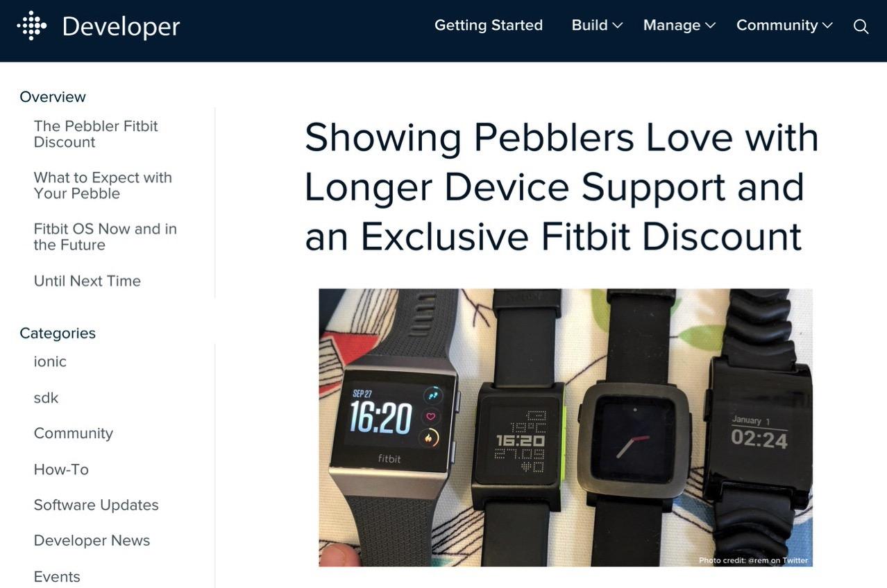 Fitbit、Pebbleのサポートを2018年6月30日で終了すると発表