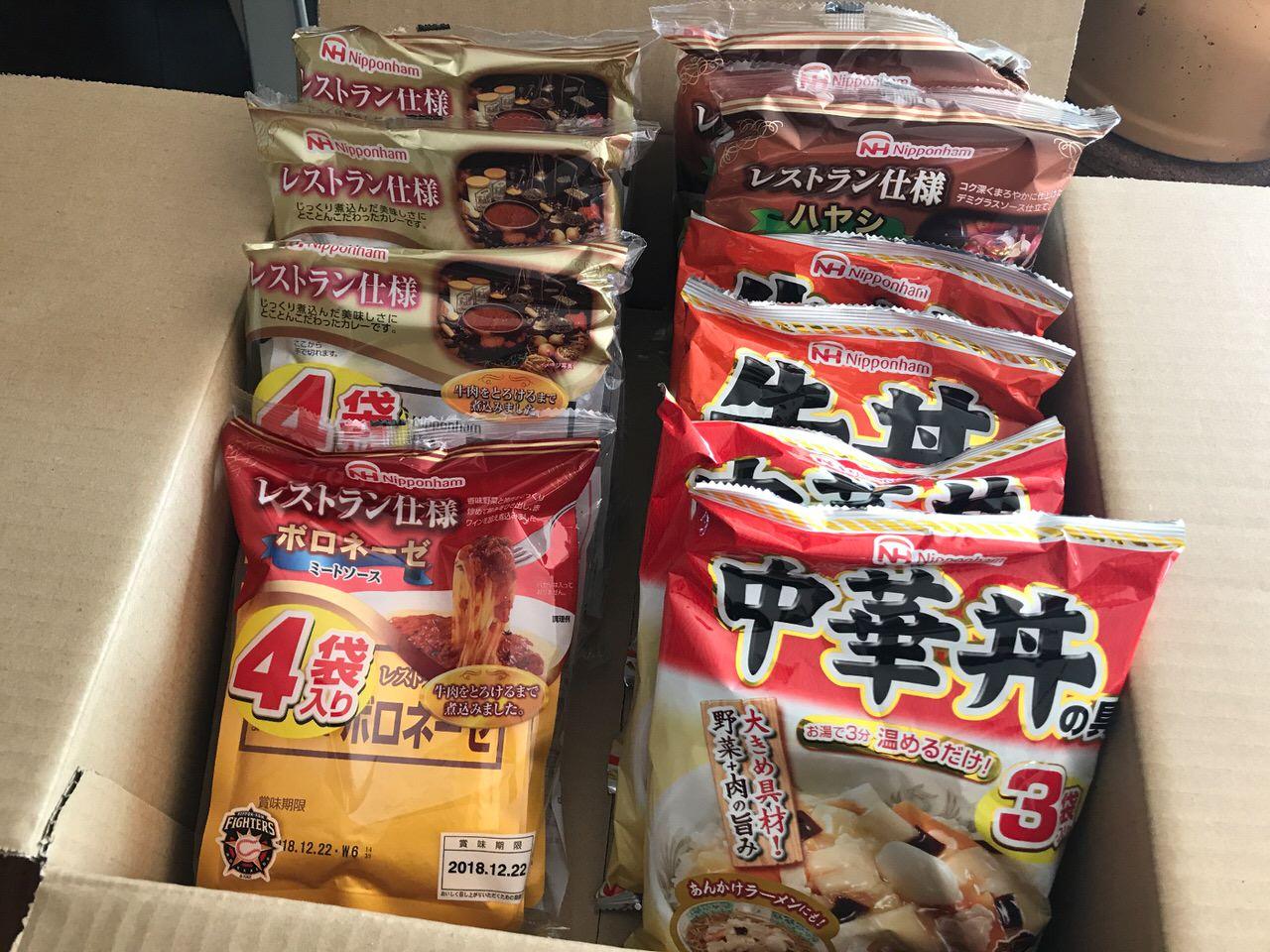 【ふるさと納税】大阪府泉佐野市から「ニッポンハム レトルト5種36食セット」が届く