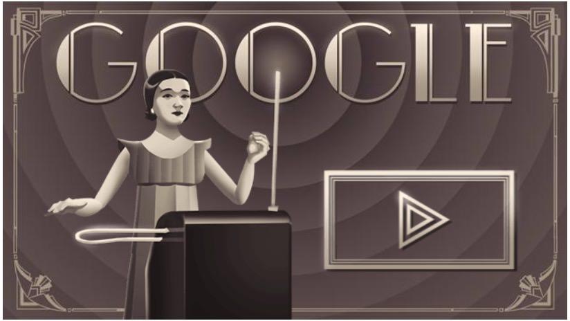 Googleロゴ「クララ・ロックモア(Clara Rockmore)」に(リトアニアのテルミン奏者)