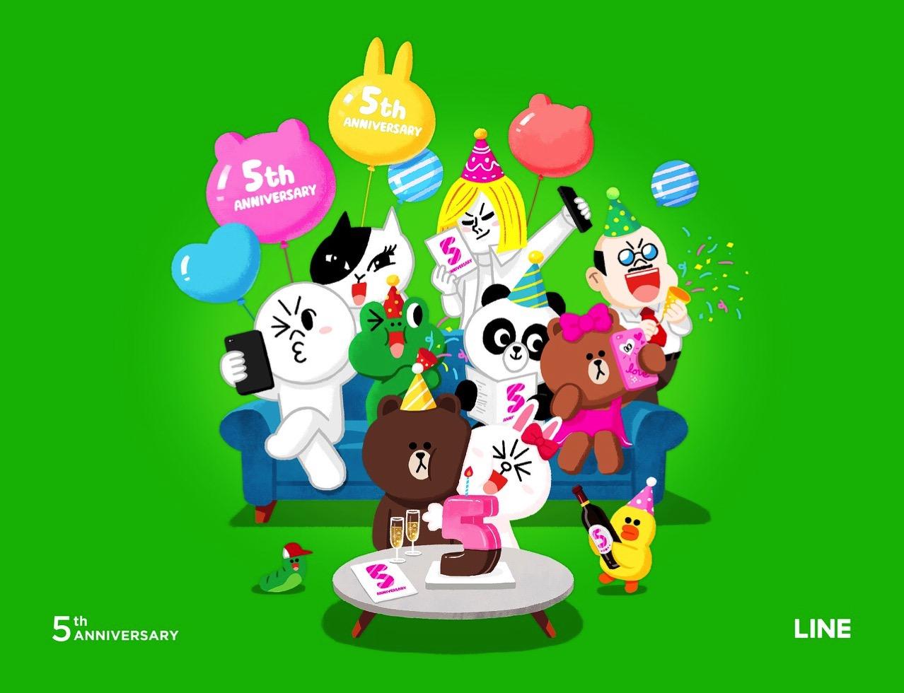 「LINE」6月23日にサービス開始から5周年を迎える 〜記念してLINEキャラクタースタンプ50%OFF、LINE Out無料