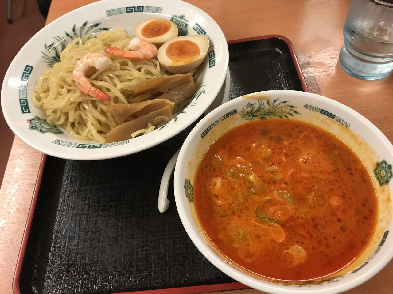 日高屋「エビ辛とんこつ つけ麺」濃厚なエビが美味くピリ辛は後からやってくる