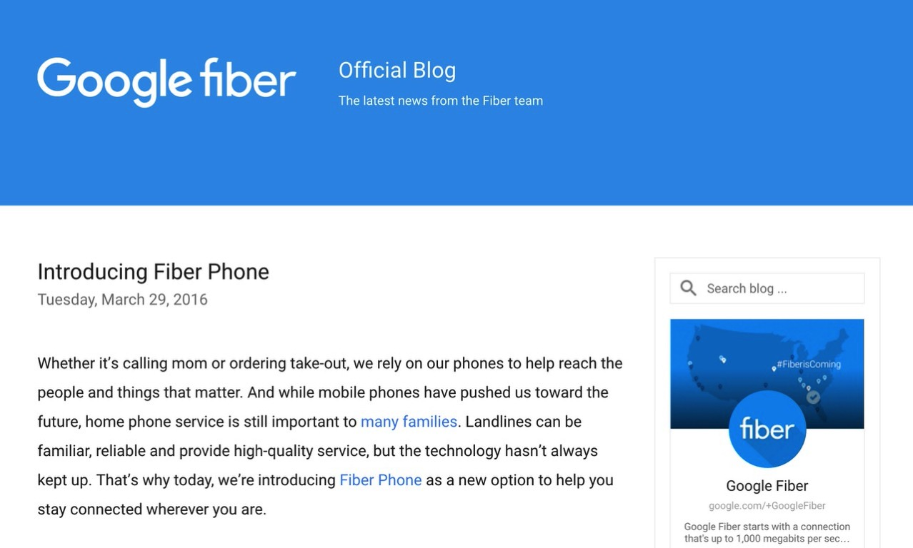 「Fiber Phone」Google提供の月間10ドルの固定電話サービス