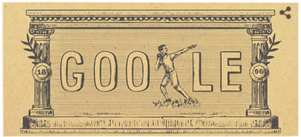 Googleロゴ「近代オリンピック」に(第1回アテネオリンピックから120周年)