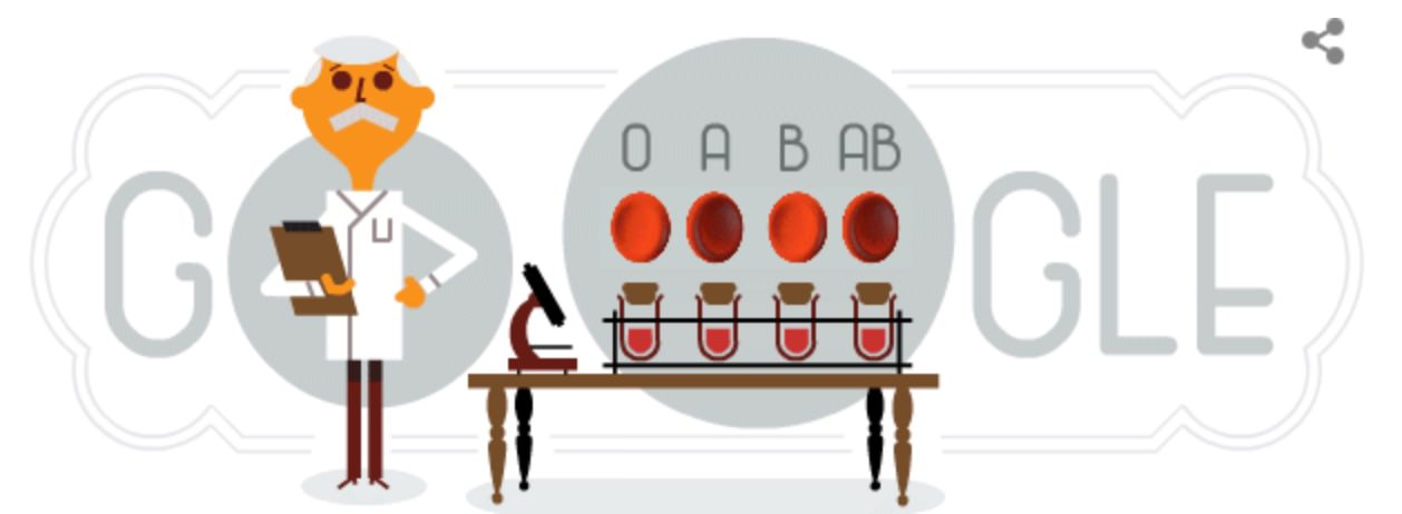 Googleロゴ「カール ラントシュタイナー」に(ABO式血液型の発見者)