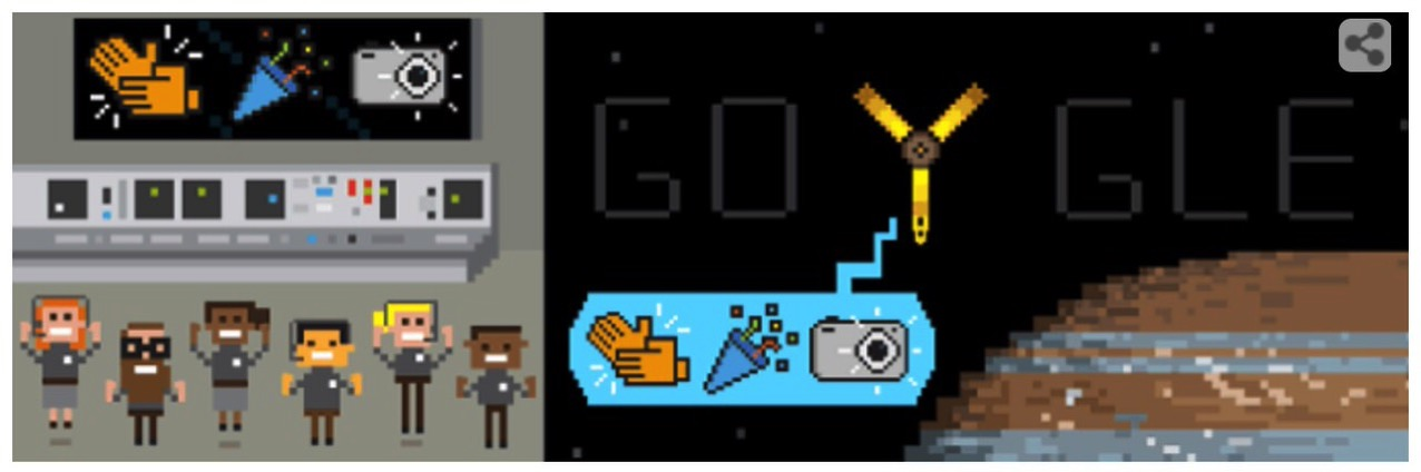 Googleロゴ「ジュノー」に(NASAの木星探査機)