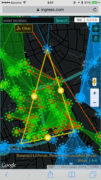 【Ingress】モバイル版「Intel Map」でポータル間でリンクできるか確認する「Link Planning機能」の利用方法