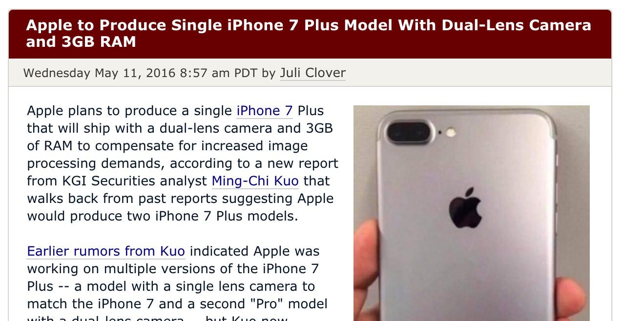 「iPhone 7 Plus」デュアルレンズカメラ搭載、メモリは3GBか?