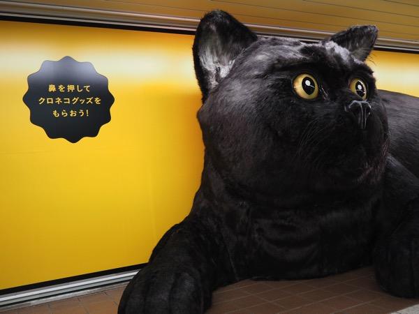 【速報】クロネコグッズが貰える!新宿メトロプロムナードに鼻を押すと宅急便コンパクトをペロリンチョする巨大な黒猫が出現中!【PR】