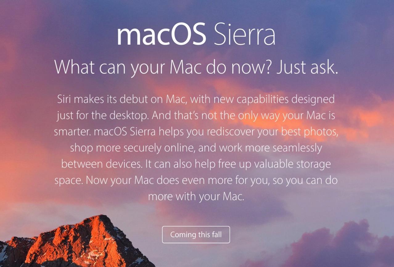 OS Xから改称「macOS Sierra」発表 〜2016年秋にリリース、MacでSiriの利用が可能に