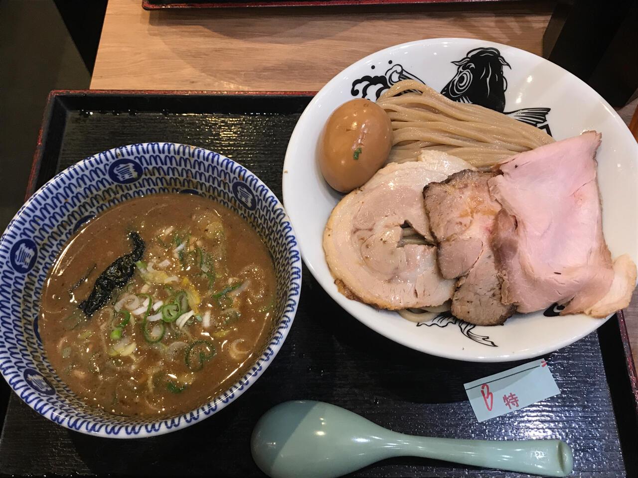 成田空港のフライト前に「日本の中華そば富田」特製濃厚つけ麺(1,180円)を食す!