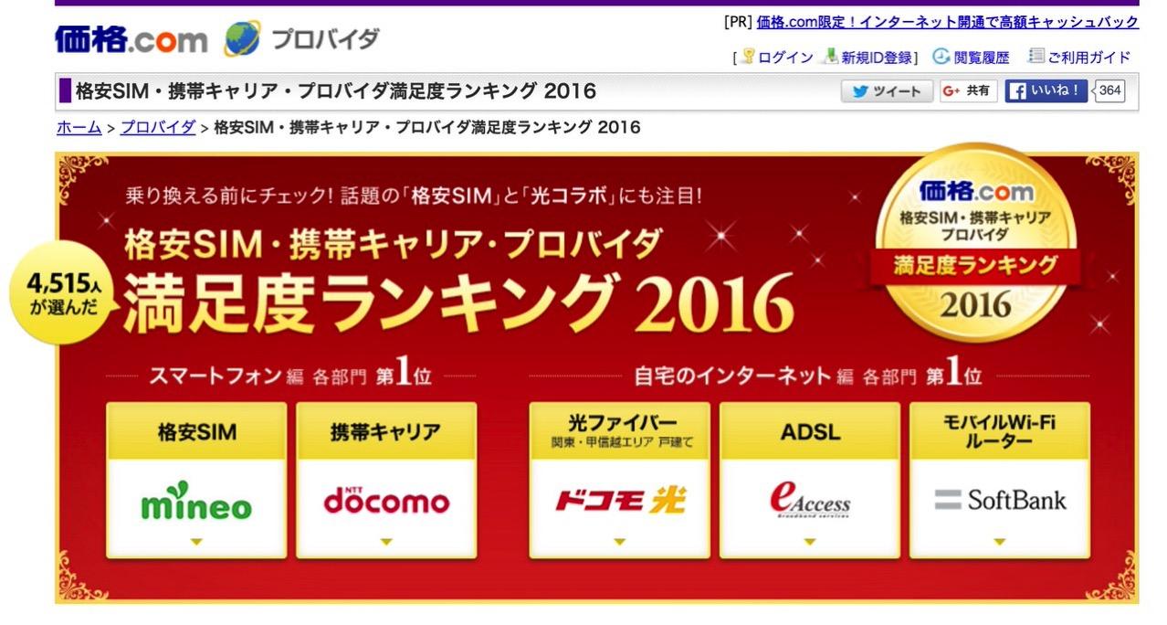 【価格.com調査】格安SIMの満足度トップは「mineo」2位は「IIJmio」3位は「OCNモバイルONE」