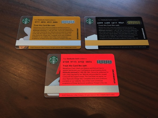 Starbucks card los 10 10 12 14 39