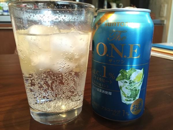 サントリー「The O.N.E(ザ・ワン)」ミント浸漬酒でミント感たっぷり!暑い日の昼間から飲みたいアルコール1%のドライモヒート(カロリーと炭水化物)