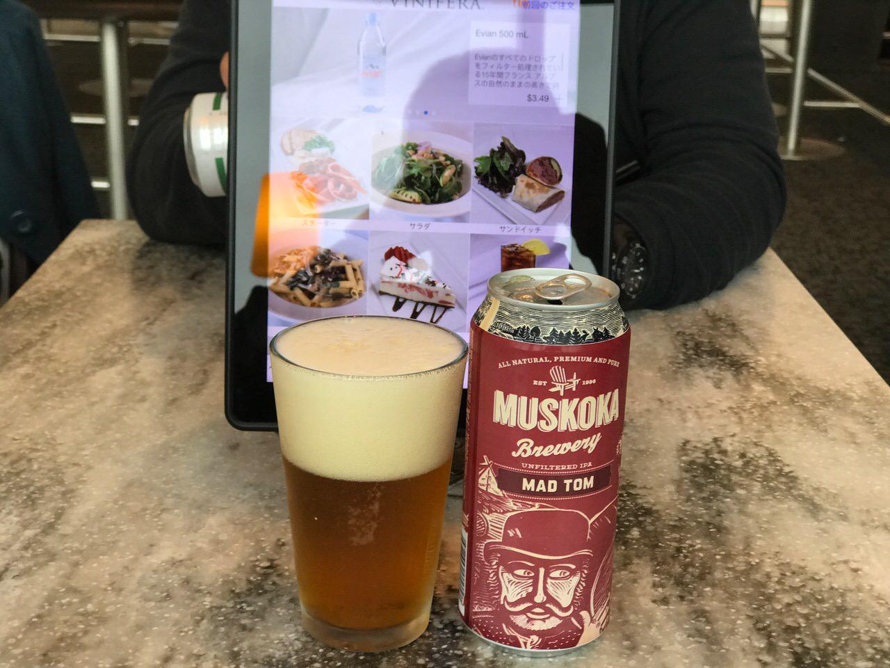 「MUSKOKA MAD TOM IPA(マスコーカ)」トロント空港のiPadで注文したオンタリオのクラフトビール