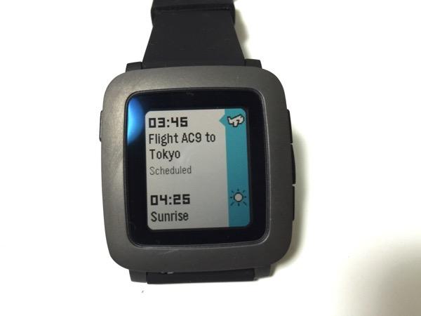 【Pebble Time】「Travel」Timeline(タイムライン)にフライトなど旅の予定を表示するアプリ