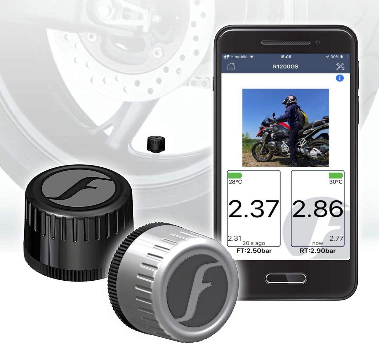 スマホでバイクタイヤの空気圧をリアルタイムに管理できる「FOBO Bike 2」
