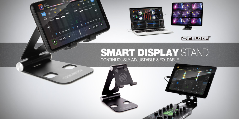 折りたたみ式で好みの角度に調整可能なDJ機器ブランドのスマホ&タブレット・スタンド「Reloop SMART DISPLAY STAND」