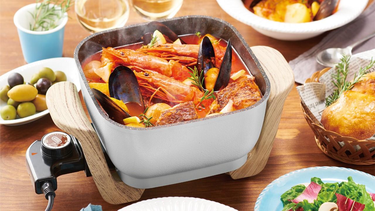 煮る・焼く・蒸す・炒める・揚げる・炊くの1台6役の多機能電気鍋「Toffy コンパクトマルチ電気鍋」