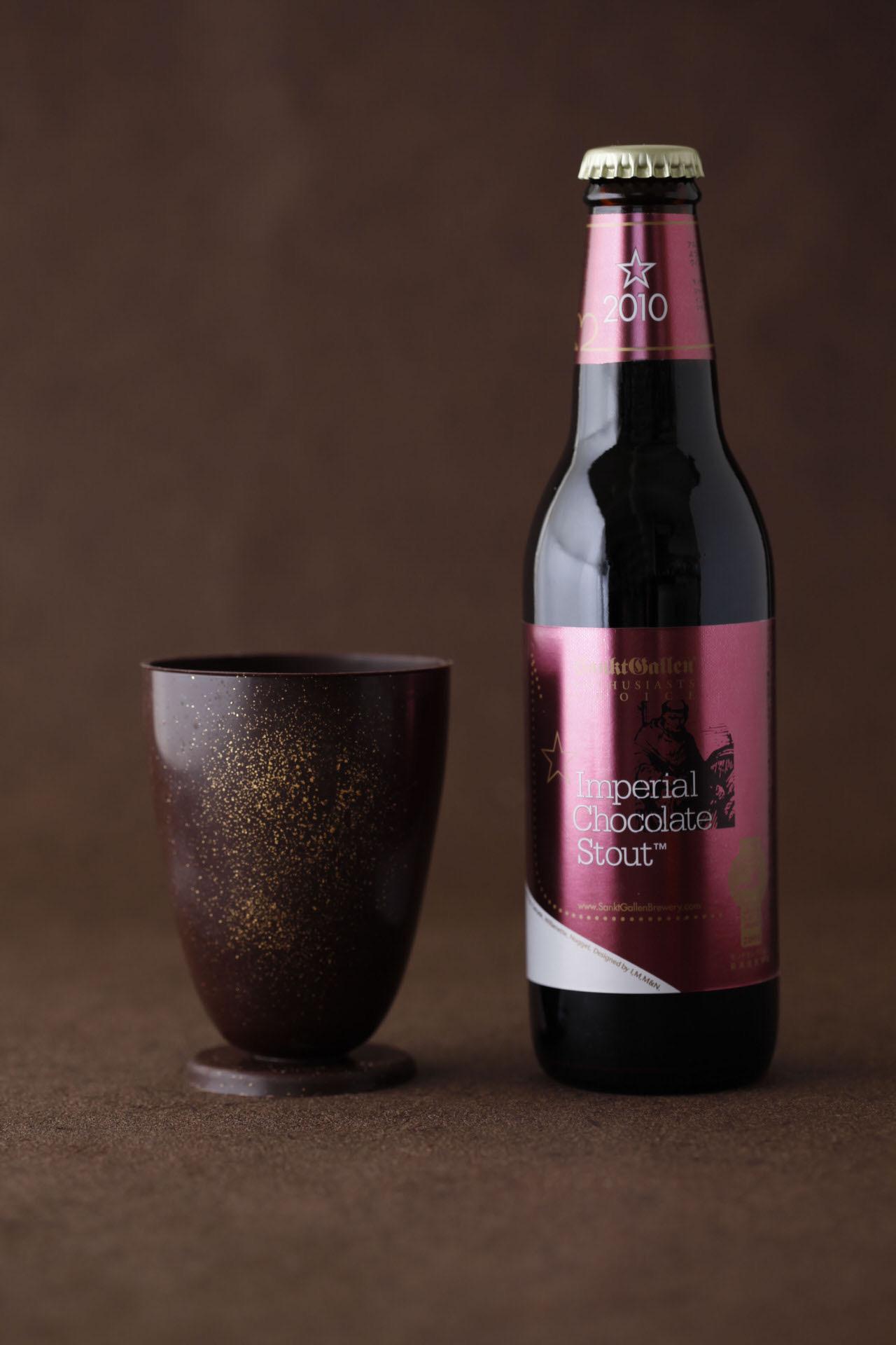 【サンクトガーレン】チョコレート風味のビール「インペリアルチョコレートスタウト」とチョコレート製の食用グラスのセットを限定発売(2/1から)