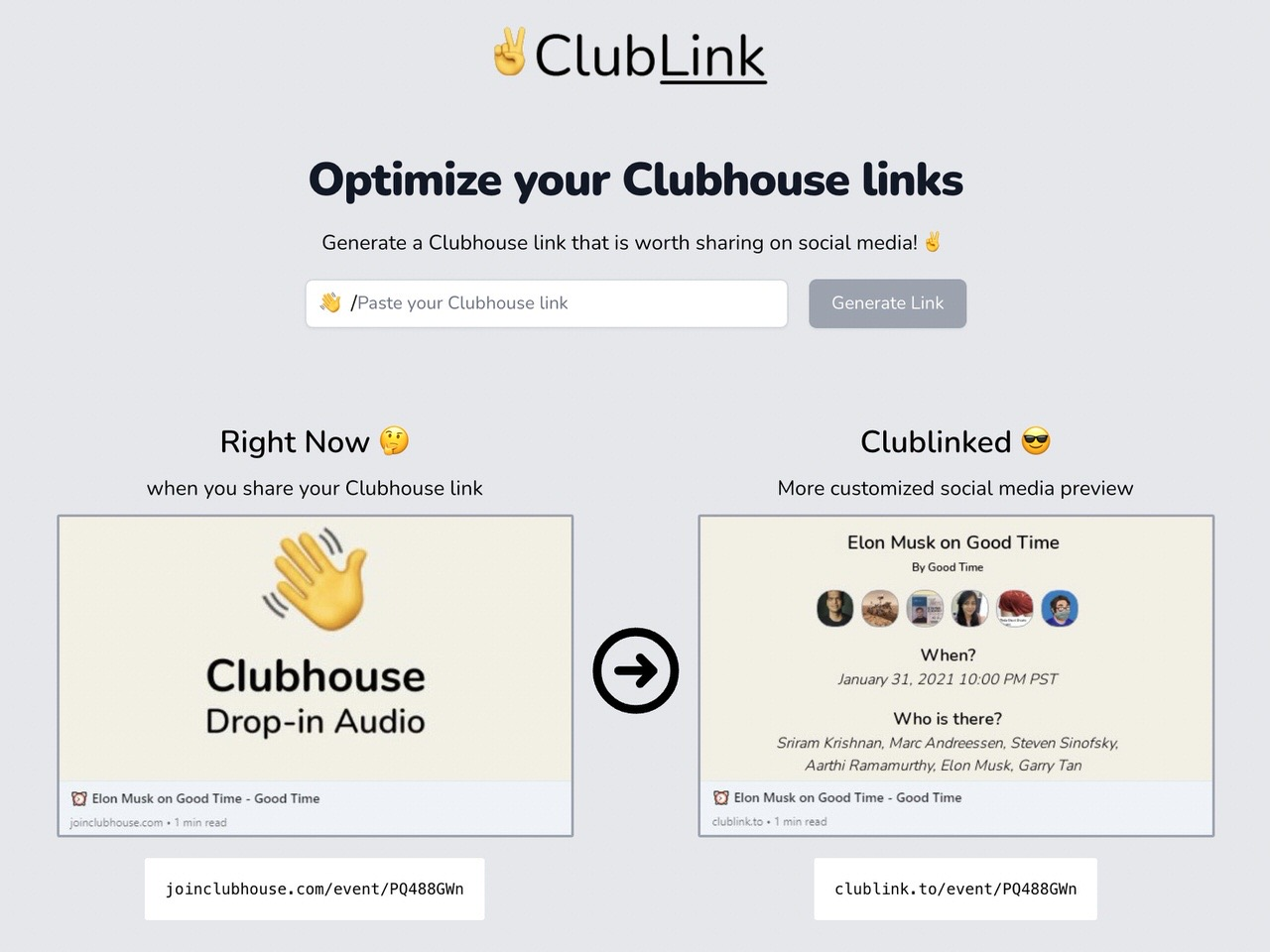 【Clubhouse】シェアするリンクをカスタマイズする「ClubLink」