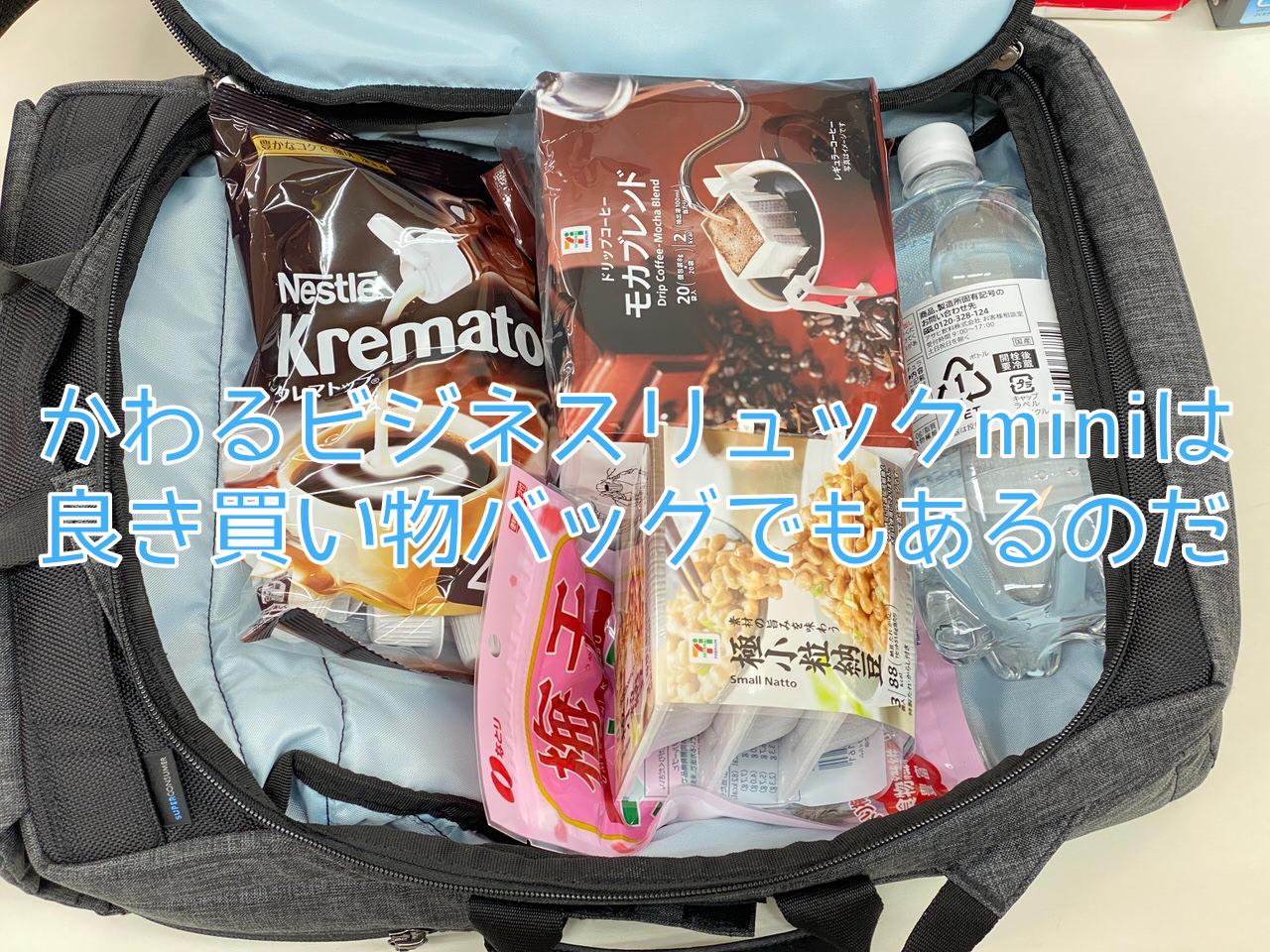 「かわるビジネスリュックmini」買い物バッグとしての普段遣いもけっこう良いのを説明します