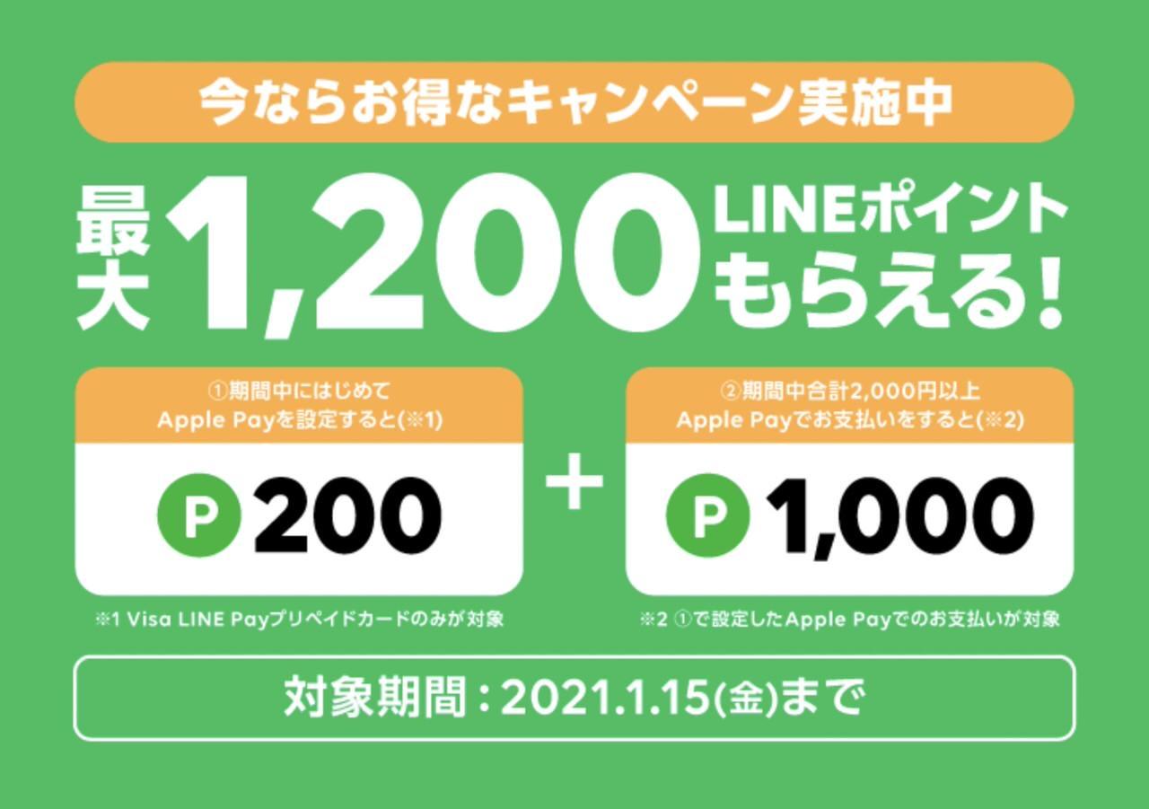 【LINE Pay】Apple Payを設定して支払いすると最大1,200ポイント貰えるキャンペーン