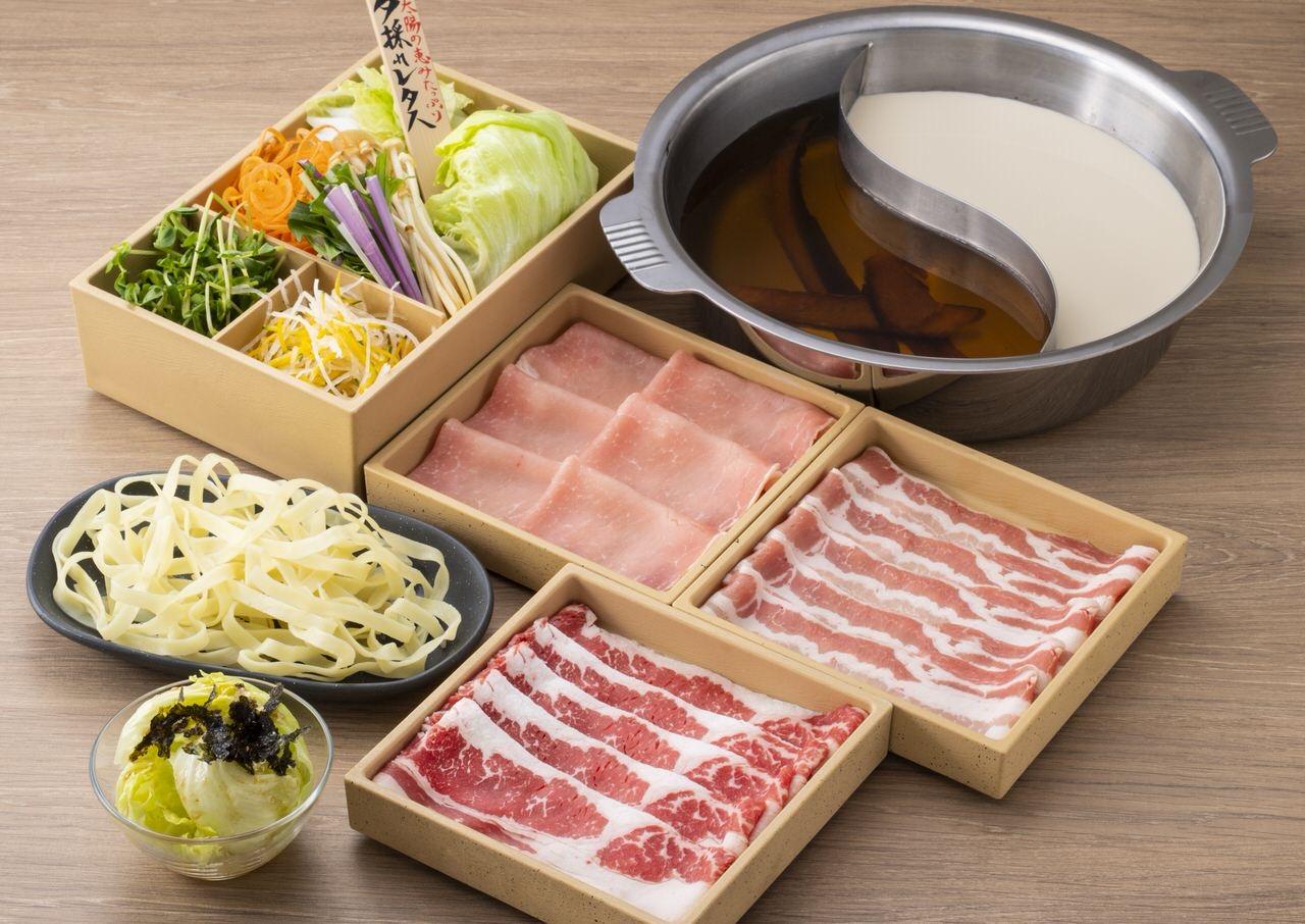 【しゃぶしゃぶ温野菜】三元豚に牛や鶏など3種の肉に国産野菜がセットになって2種類の出汁が楽しめるしゃぶしゃぶの「食べきりセット」1,500円で発売
