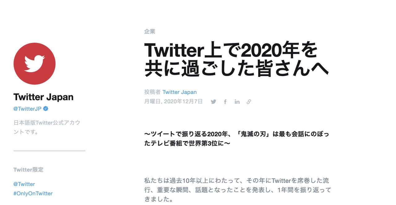 【Twitter】2020年を振り返り「もっともリツイート」「もっとも引用ツイート」「もっともいいね」などのツイートを発表
