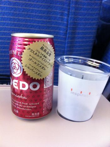 ANAの機内でコエドビール「紅赤」