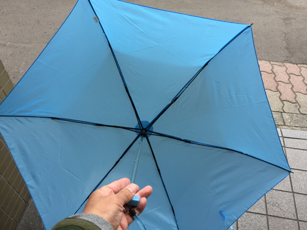 540円の折り畳み傘を開いたところ