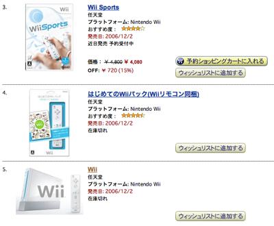 Amazonで「Wii」が予約できたらしい