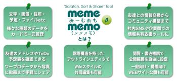 メモやToDoを管理して共有するウェブアプリ「memememo(ミームメモ)」