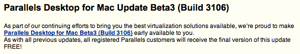 「Parallels Desktop for Mac Update Beta3 (Build 3106)」リリース
