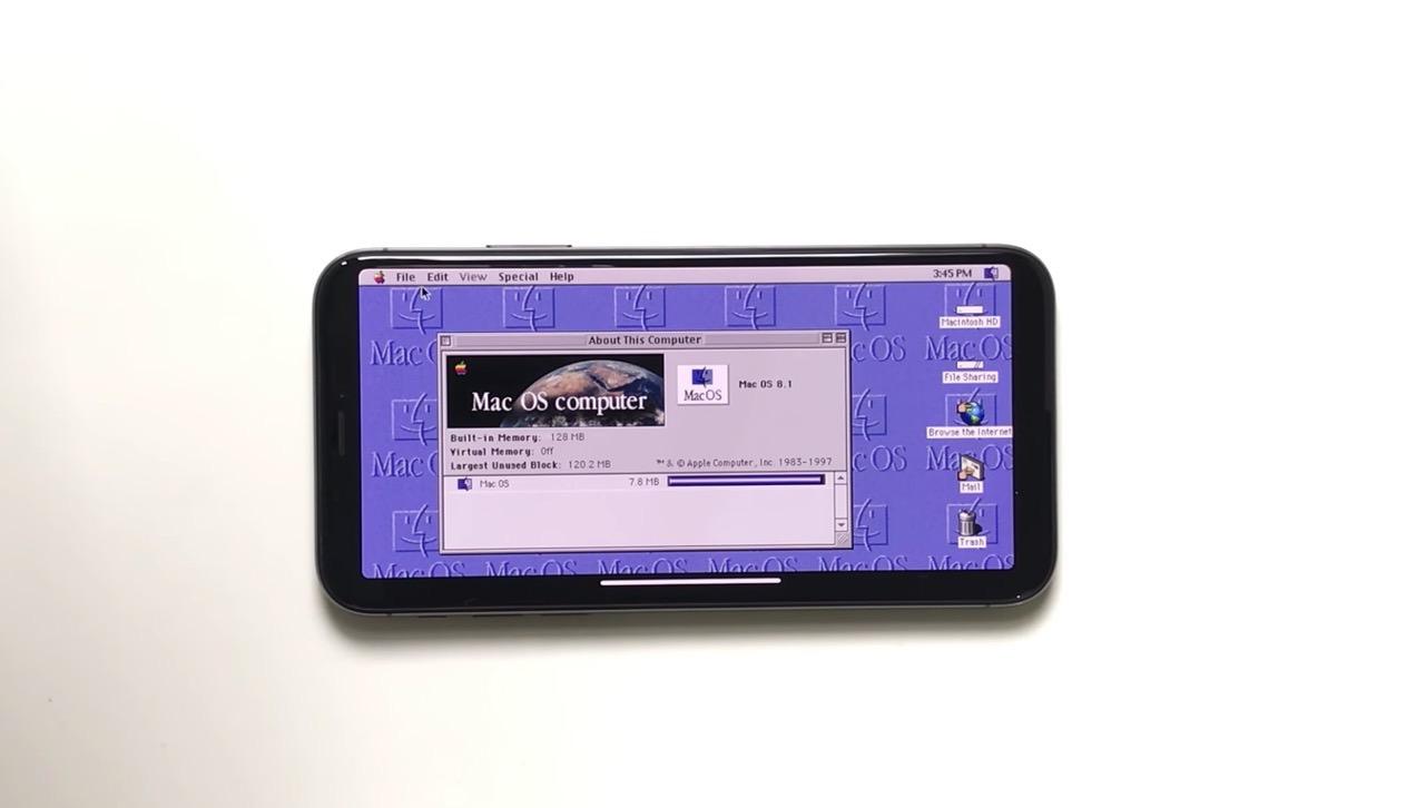「iPhone X」でMac OS 8を動作させる動画が公開される