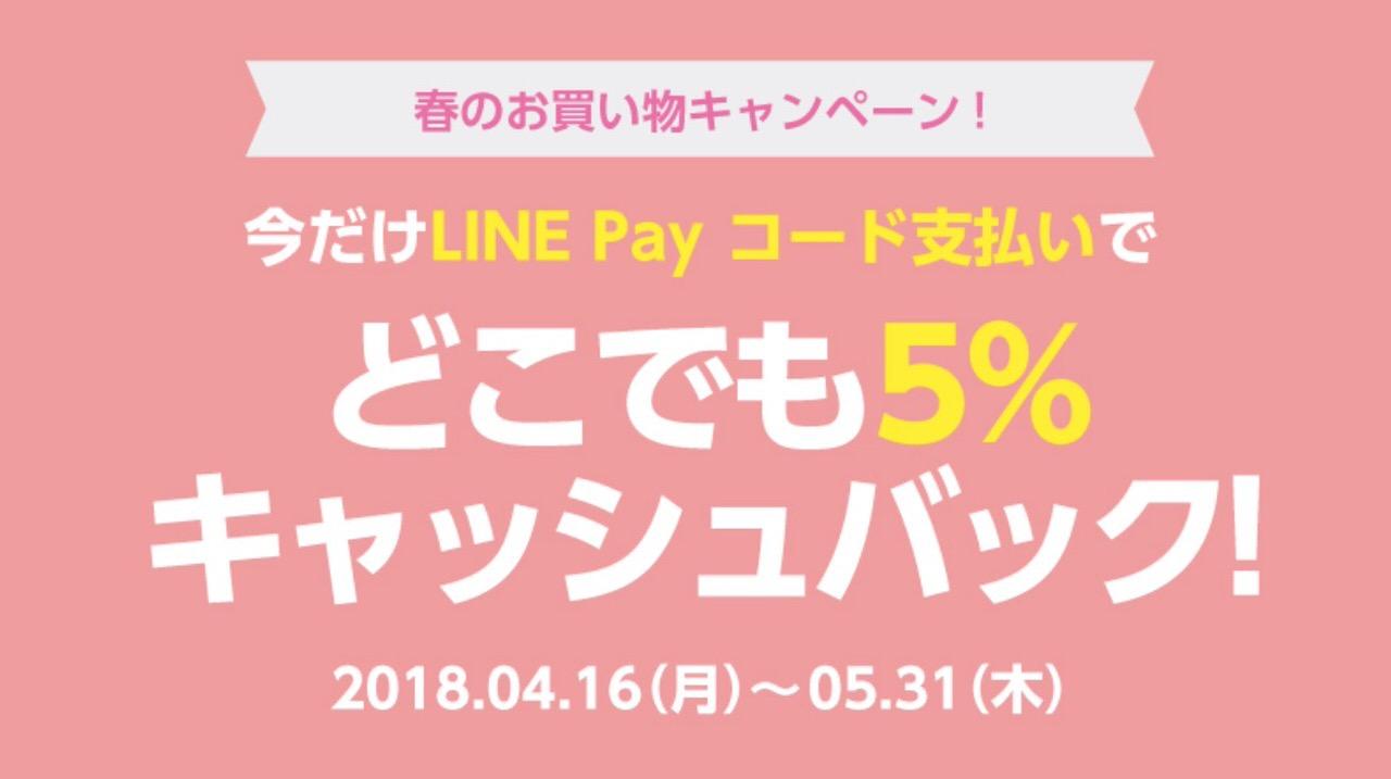 「LINE Pay」5%ポイントバックキャンペーン