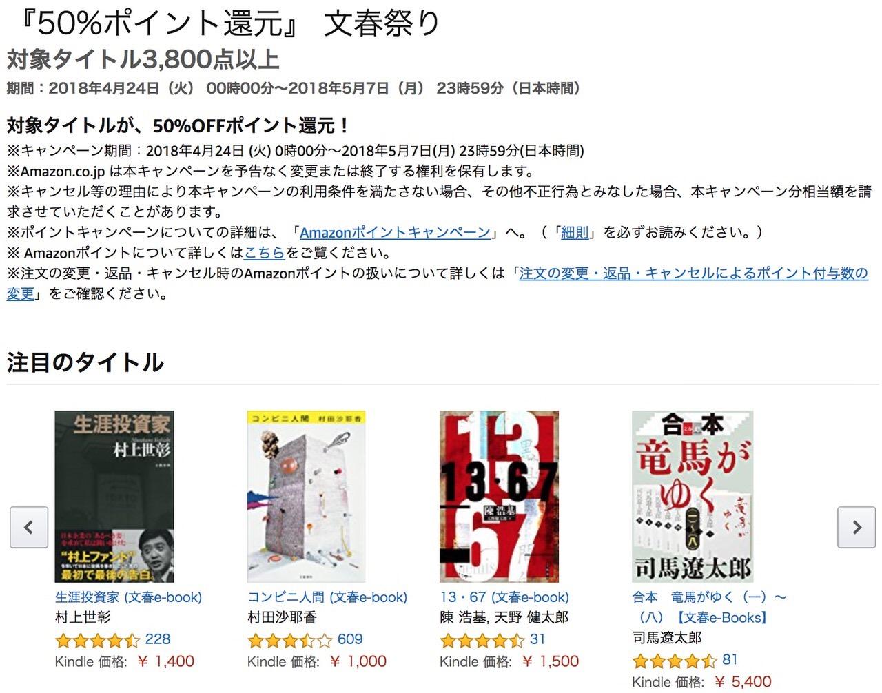 【Kindleセール】3,800冊以上が対象!50%ポイント還元「文春祭り」(5/7まで)