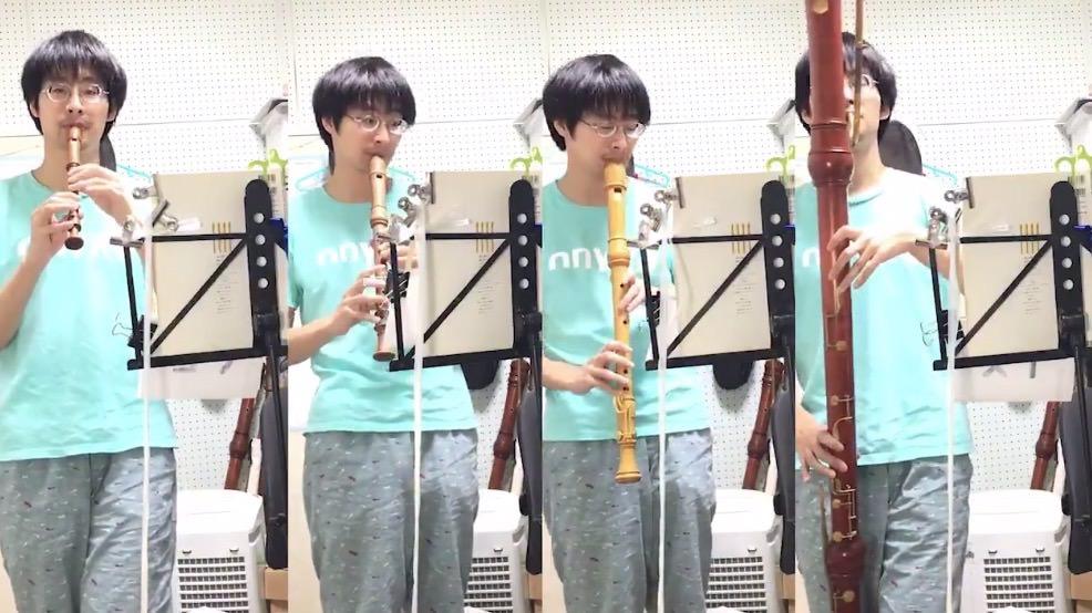 【動画】4種類のリコーダーを演奏してひとりピタゴラスイッチ