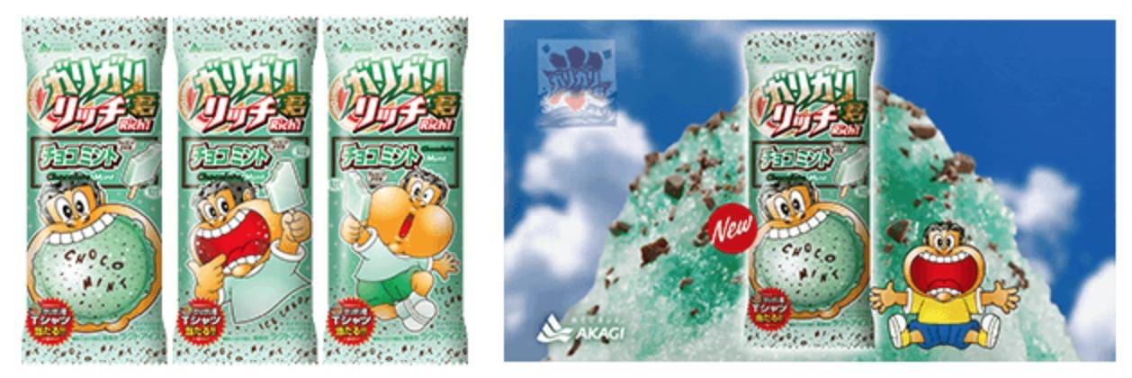 「ガリガリ君リッチ チョコミント」ミント味のアイスキャンディーの中にチョコチップ入りのミントかき氷