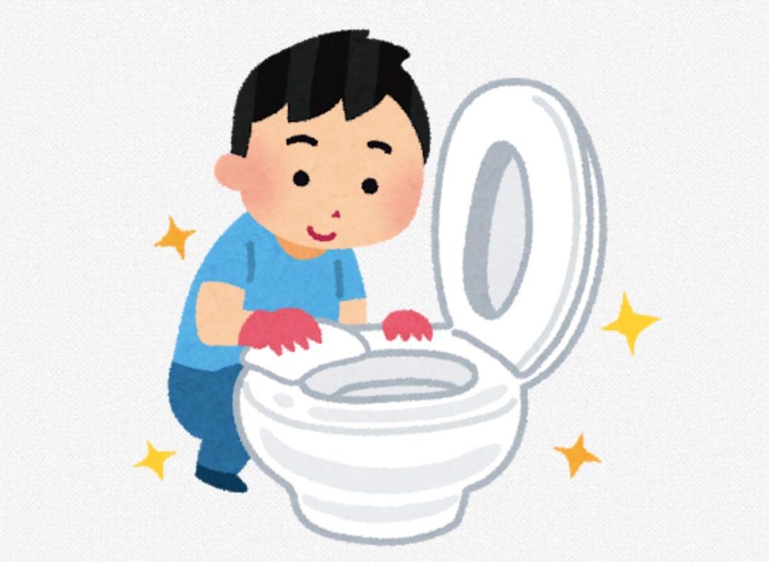 自分で便座を清掃するトイレの動画