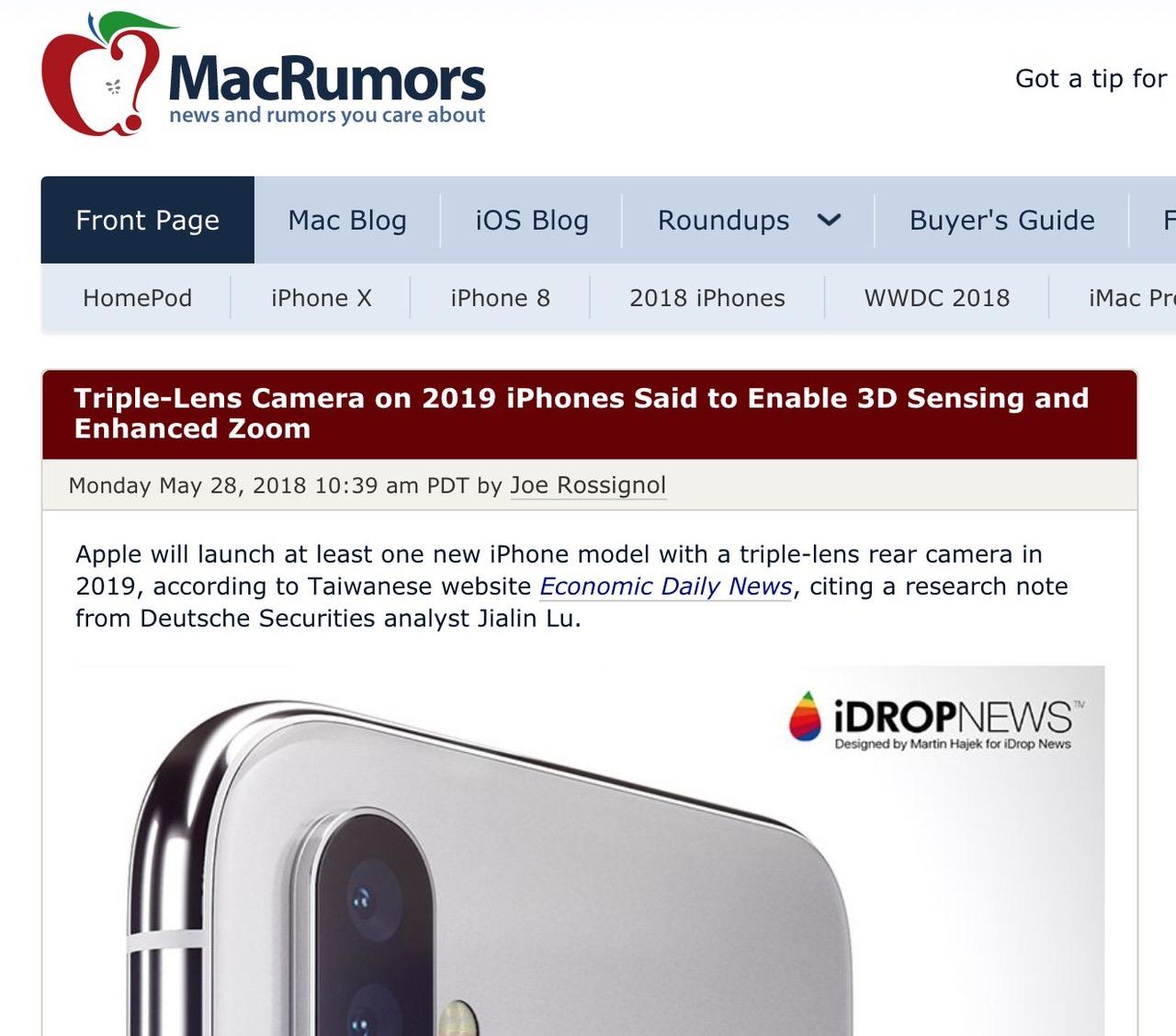 2019年発売予定のトリプルレンズiPhoneは3Dセンシングと拡張ズームを搭載か