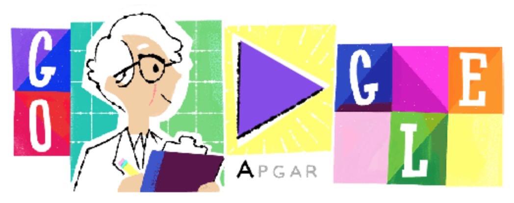Googleロゴ「ヴァージニア・アプガー」に
