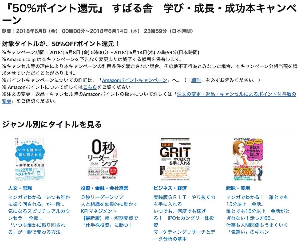 【Kindleセール】50%ポイント還元「すばる舎 学び・成長・成功本キャンペーン」(6/14まで)