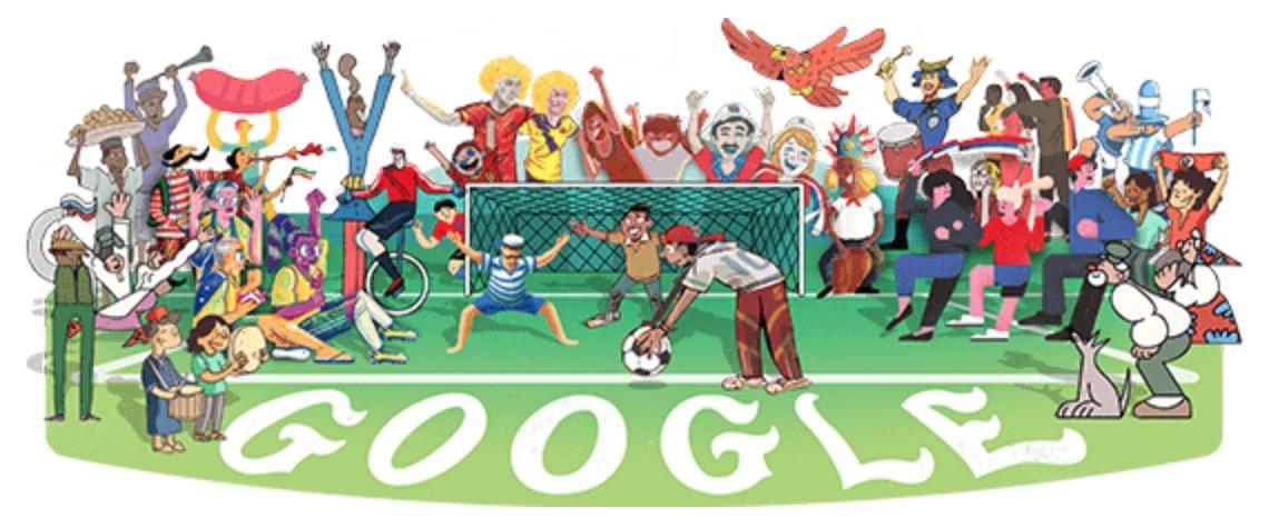 Googleロゴ「ワールドカップ 2018」に
