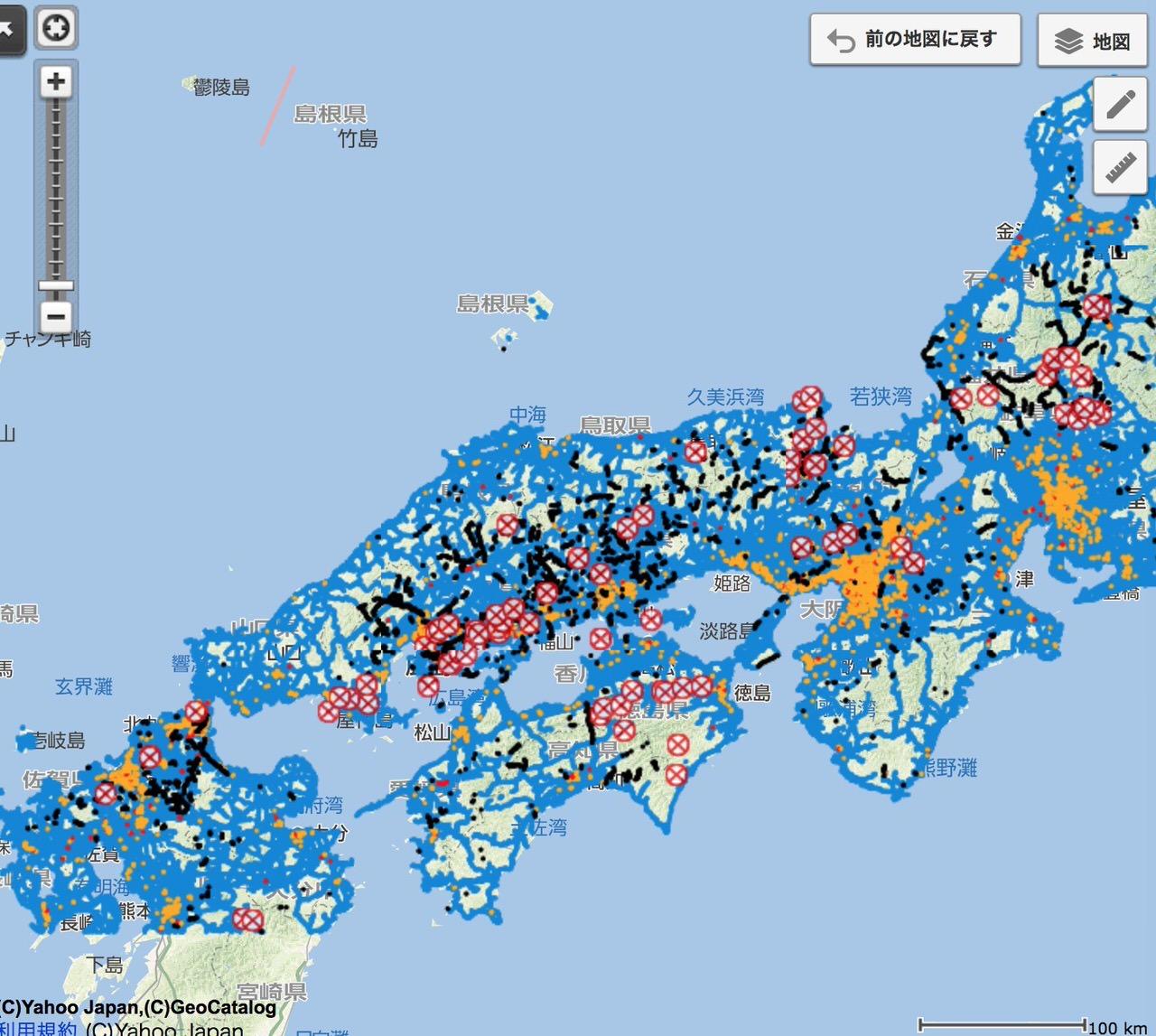 「ヤフー地図」道路通行実績からほぼリアルタイムに通行止めの情報を公開中