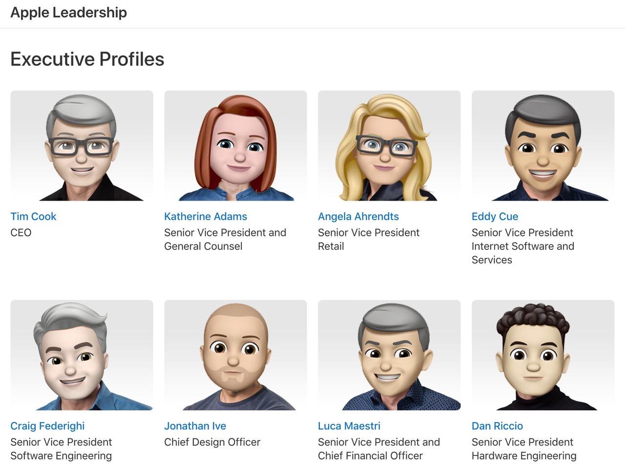 世界絵文字デーにあわせてAppleの役員ページが「Memoji(ミー文字)」に