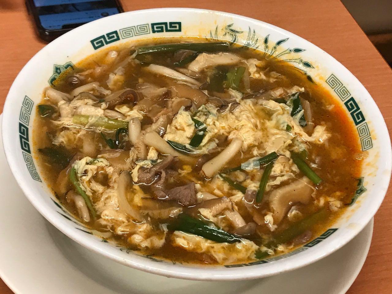 【日高屋】「酸辣きのこ湯麺」ピリ辛酸っぱみでなかなか美味い【感想】