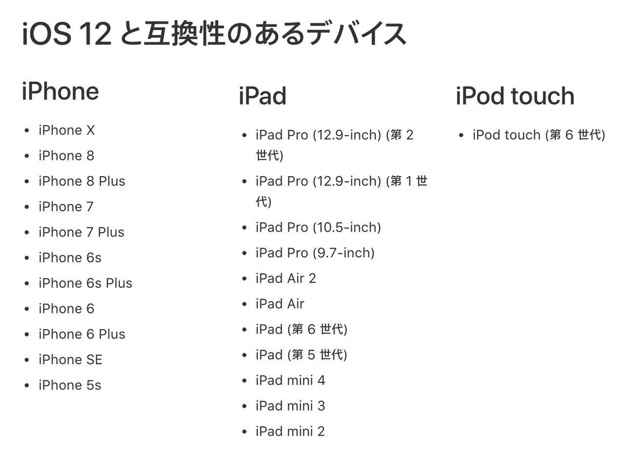 「iOS 12」対応機種