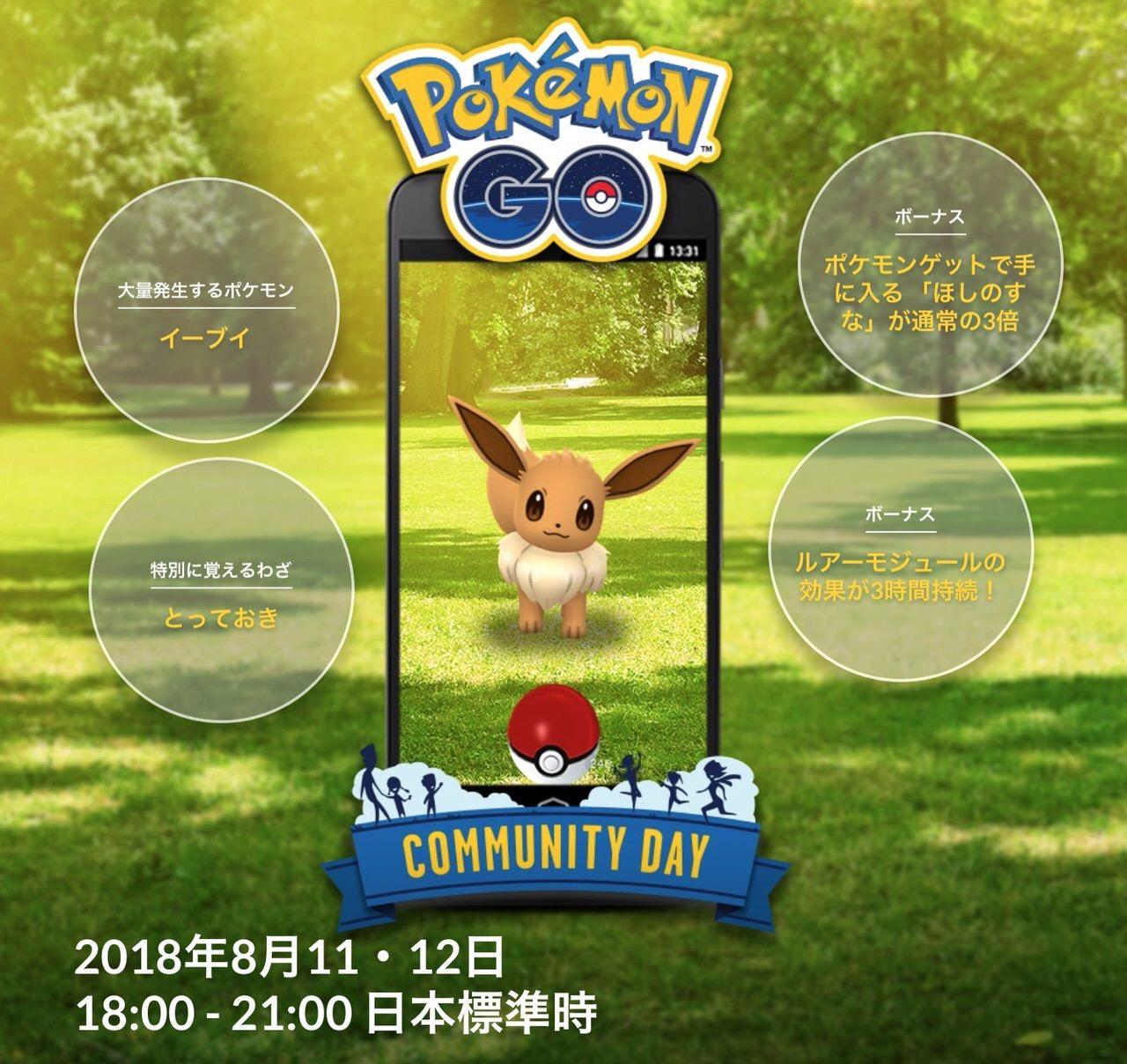 【ポケモンGO】8月11・12日の「Pokémon GO コミュニティ・デイ」開催中のイーブイは「とっておき」を覚えている