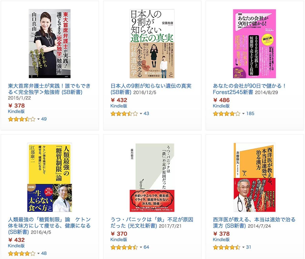 【Kindleセール】1,000冊以上が50%OFF以上「新書フェア」(9/6まで)